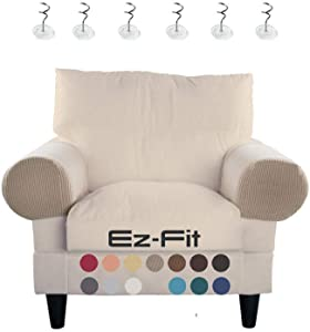 2 Pc Anti-Slip Spandex Stretch Fabric Sofa Armrest Cover Set Recliner,Armchair,Couch Armrest Protector for Upholstered Furniture Fitted Jacquard Design Material |Strapless with Free PINS (Beige-Latte)