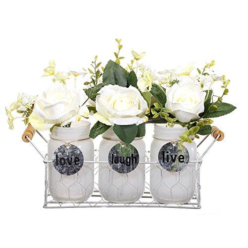 V-More Rustic Glass Mason Jar Flower Vase with Hang Tags and Chicken Wire Basket 6.5-inch Tall for Home Decor Wedding Party and Celebration (Set of -
