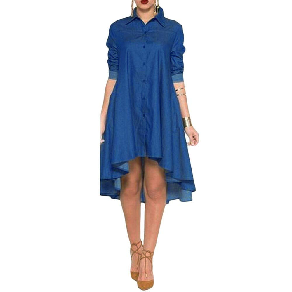 EINCcm Women Asymmetrical Hem Button Down Long Sleeves Turn Down Neck Denim a-Line Swing Shirt Dress(Blue, S)