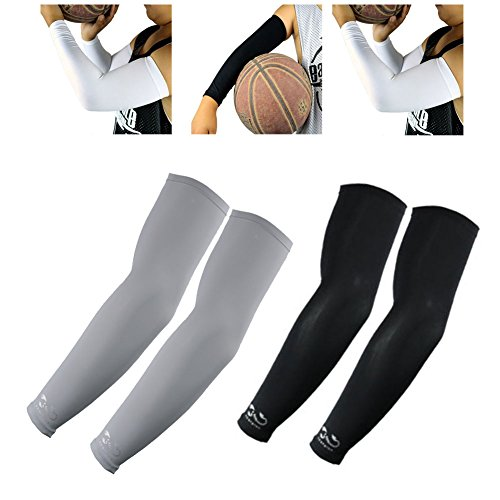 2 Pairs, Child Kids Boys Girls Youth Anti-Slip Arm Sleeves Cover Skin UV Protection Sports Stretch Basketball Running Cycling, Gray, Black by Scorpion (Image #7)