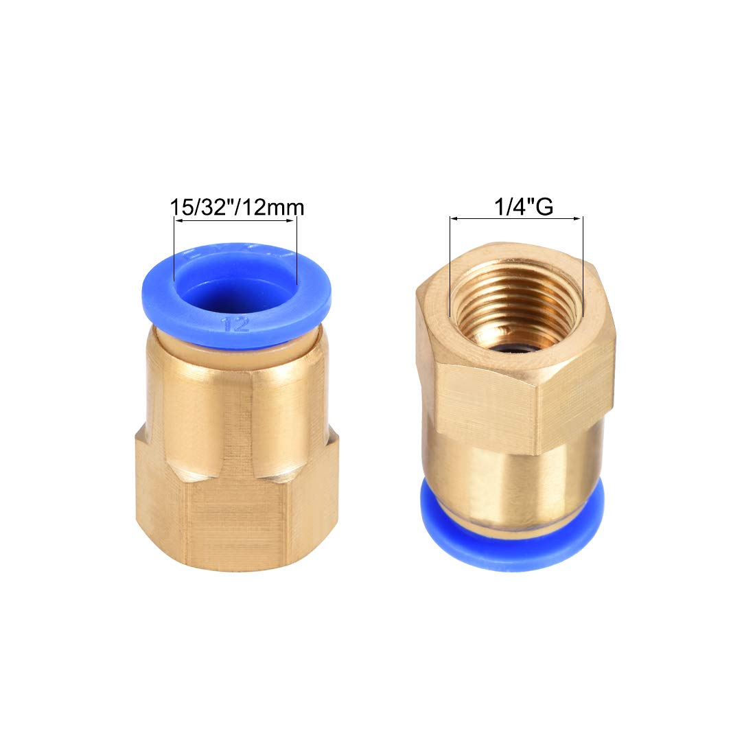 uxcell Straight Pneumatic Push to Connect Female Quick Fitting Adapter 8mm or 5//16 Tube OD x 1//2 G