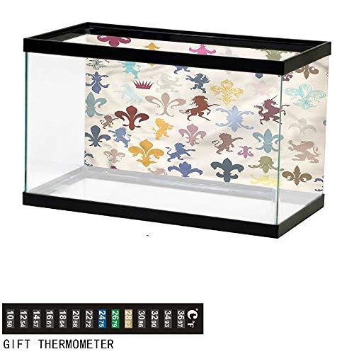 bybyhome Fish Tank Backdrop Fleur De Lis,Lions Horses Griffins,Aquarium Background,48