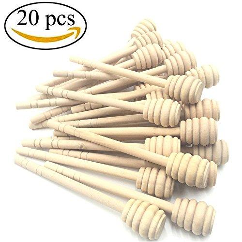 Dipper Set (Mmei Set of 20 6 Inch Portable Wooden Jam Honey Dipper Honey Sticks for Honey Jar Dispense Drizzle Honey)