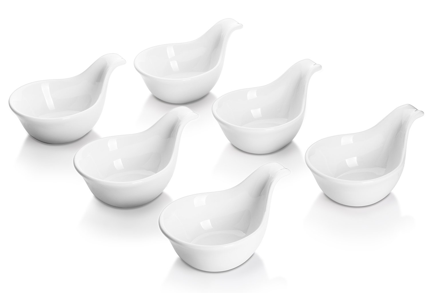 DOWAN 3oz Porcelain Dipping Bowls/Soy Sauce Dishes/Appetizer Spoons - 6 Packs, White, Stackable Ramekins with Grip Handle