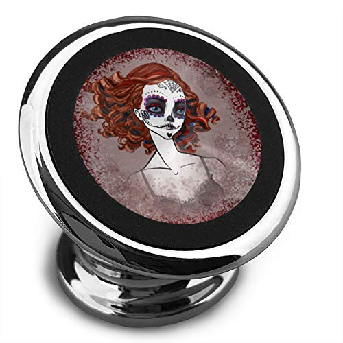 Qinf Girl with A Skeleton Makeup Universal Gray Smartphone Car Mount Holder Cradle for iPhone Xs Max R X 8 Plus 7 Plus 6S Samsung Galaxy S9 S8 Edge S7 -