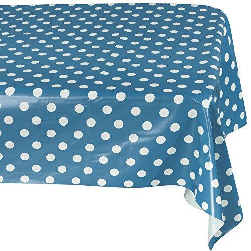 Ottomanson Royal Blue Polka Dot Design Vinyl Indoor & Outdoor Non-Woven Backing 55