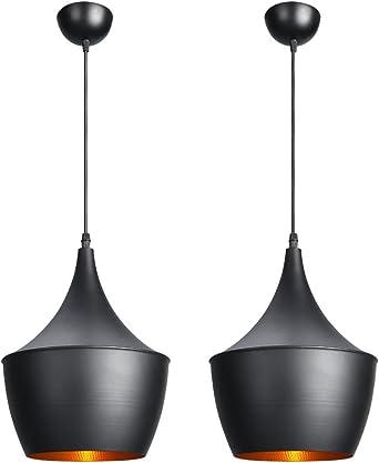 CCLIFE lot de 2 suspensions Luminaire Industrielle au Salon Lampe Suspension Luminaire Industrielle Vintage Noir et Doré à Salle à manger Ø300mm.