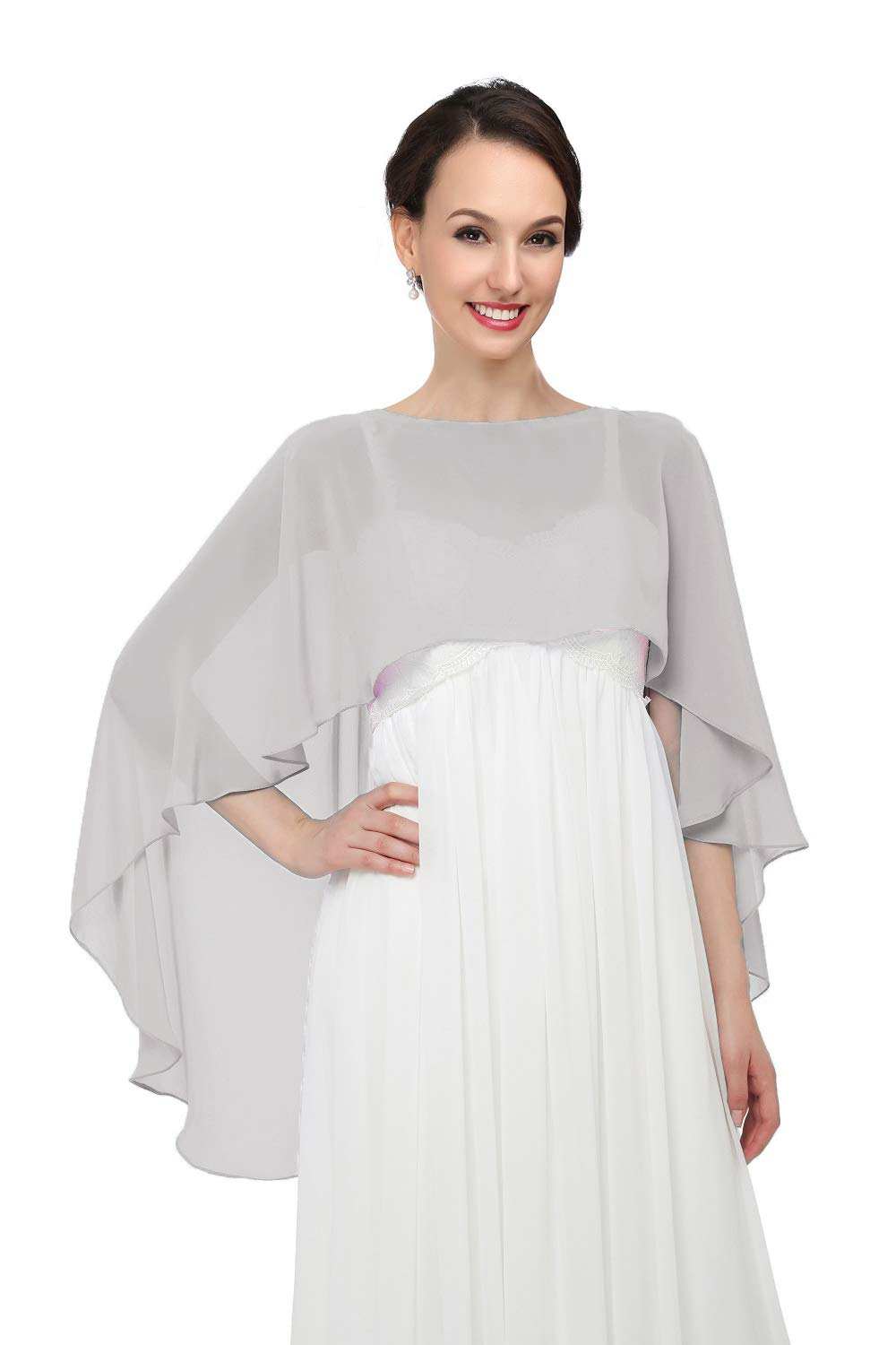 Shawls and Wraps for Evening Dresses Chiffon Wedding Capes Soft Shrugs Gray