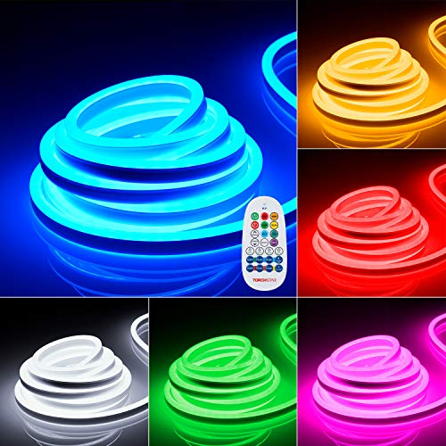 TORCHSTAR 100ft (50ft X 2 Pack) Neon Rope Lights Outdoor, AC 120V Linkable 150ft Max, IP67 Waterproof Ambient Decoration Yard Porch Garden Pathway Landscape, RGB