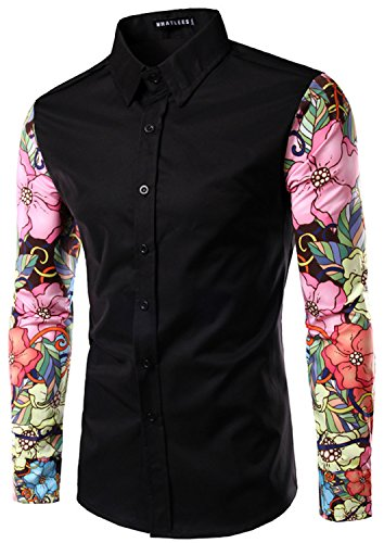 Whatlees Mens Fashion Luxury Casual Slim Fit Stylish Long Sleeve Dress Shirts Floral B030-black-L