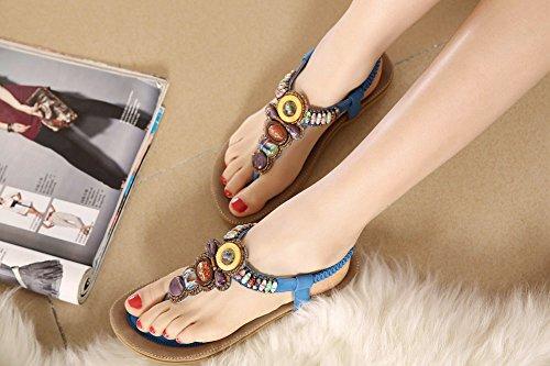 con elasticizzati cinturino infradito sandali stile strass T fiori Zicac spiaggia estivi donna con hippy Blue a da e da EqR5tddnw