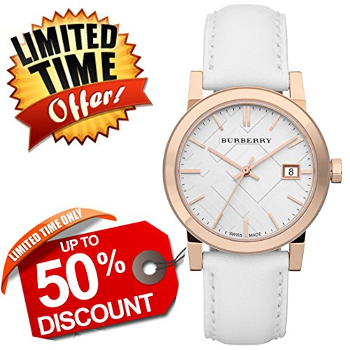 Burberry The City SWISS LUXURY Unisex Men Women 34mm Round Rose Gold Watch White Leather Band White Date Dial BU9108