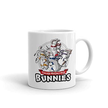 Amazon.com: Ninja Bunnies Funny Turtle Graphics 11 OZ White ...
