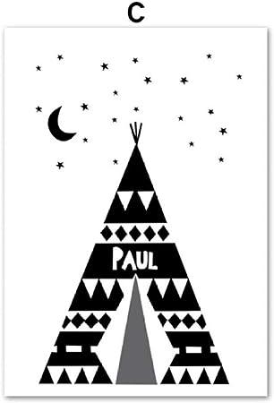Dibujos animados negro blanco tienda de campaña flecha estrella pared arte lienzo pintura nórdica carteles e impresiones pared cuadros niños habitación decoración C 40 * 50cm: Amazon.es: Hogar