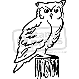 A4 Owl On Stump Wall Stencil Template WS00010606