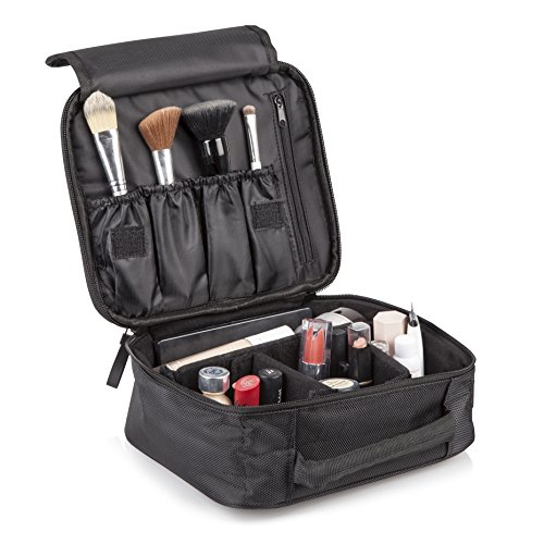 Travel Makeup Organizer Cosmetic Bag: Black Waterproof Toiletry Zipper Bags for Makeup Brushes Eyelash Curlers Lipstick Mascara Eyeliner Blush and More - Sleek Cosmetics Pouch for Traveling or - Sunglasses Pharmacy