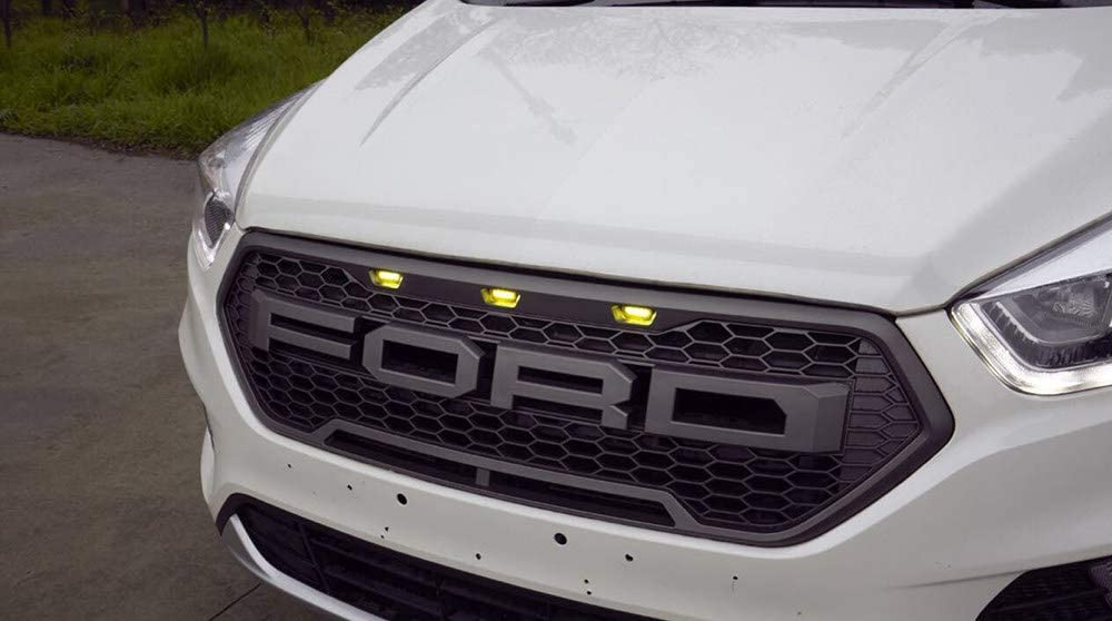 LSYBB Front Bumper Grille Racing Upper Grille With LED Raptor Sport Style With Honeycomb Mesh for Ford Escape Kuga 2017-2019 Gray