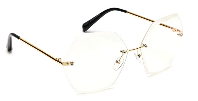 26772435b5fc Amazon.com: Tantino Rimless Eyeglasses Hexagon Gold Metal Clear Lens ...