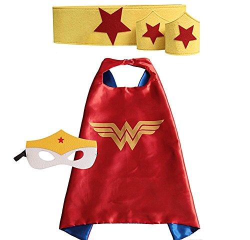 WonderWoman Cape Bundle - 4 Items - 1 Cape - 1 Mask - 1 Waistband - 2 (Wonder Woman Outfit For Kids)