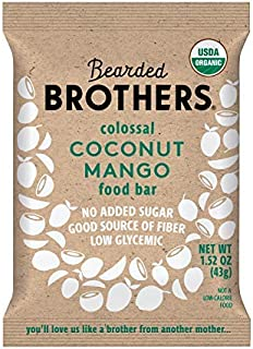 product image for Bearded Brothers Vegan Organic Energy Bar | Gluten Free, Paleo and Whole 30 | Soy Free, Non GMO, Low Glycemic, Packed with Protein, Fiber + Whole Foods | Coconut Mango | 5 Pack