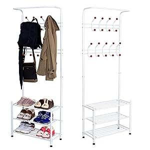 Sungle® Perchero burro de hierro con estante para colgar ropa, sombrero, bolsos, paraguas (blanco)