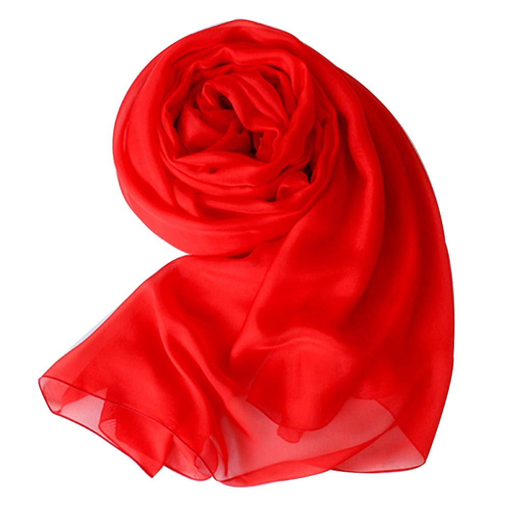 Silk Scarf, Ladies Red Silky Soft Joker Scarf Long Silk Silk Wedding Scarf Sunscreen Shawl (Size   200  130CM)