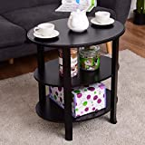 Tangkula 3-Tier End Table Oval Shaped Coffee Table with Solid Wood Flared Legs Black