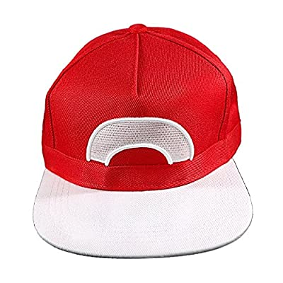 Pokemon Ash Ketchum Satoshi Snapback Hat Cap One Size Unisex Cosplay Costume by Coolinko