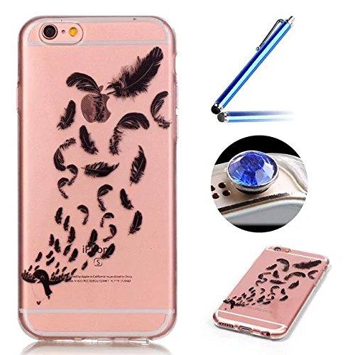 Etsue TPU Schutzhülle für iPhone 6S/iPhone 6 Silikon Handyhülle Case Cover, Bunte Blumen Tier Muster TPU Silikon Handytasche Transparent Clear Crystal Case Weiche Kristall Klar Durchsichtig Rückseite
