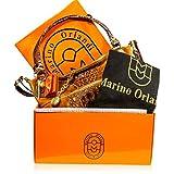 Marino Orlandi Italian Designer Cognac Alligator Leather Large Crossbody Bag