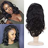 BeliHair 14 inch Body Wave Full Lace Human Hair Wigs with Baby Hair for Black Women 130% density No Shedding Brazilian Virgin Hair Replacement Wigs Natural Color