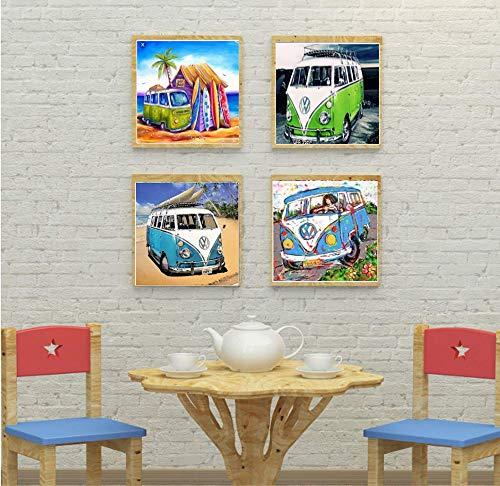 5D Diamond Painting Full Drill Diamond dotz Bus Small Diamond Embroidery DIY Diamond Art Kits for Adults Kids 4 pcs Set