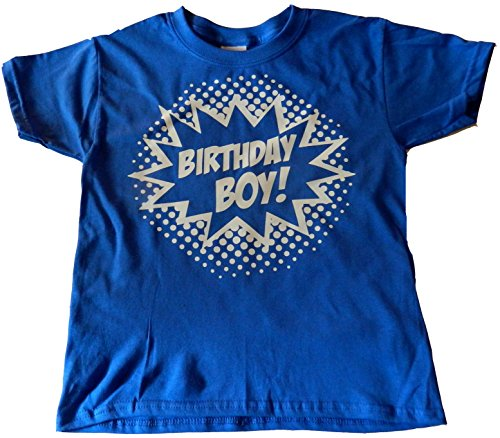 (Custom Kingdom Boys' Birthday Boy Superhero T-Shirt (4T, Royal)