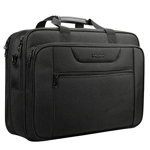 KROSER 18.5' Laptop Bag Laptop Briefcase Fits Up To 18 Inch Laptop Water-Repellent Light Weight Computer Bag Shoulder Bag Expandable Extra Large Capacity For Travel/Business/School/Men-Black
