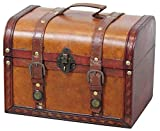 Vintiquewise(TM Decorative Wood Leather Treasure Box (Large Trunk Only)