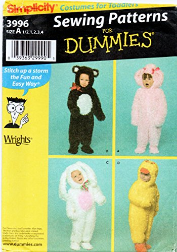 [Simplicity 3996 Toddler Costume Sewing Pattern for Dummies Size 1/2-1-2-3-4 Bunny, Duck, Bear,] (Rabbit Costume Pattern)
