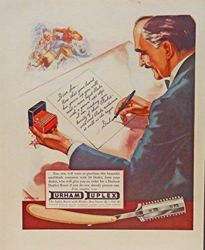 Durham Duplex Razer, 30's print ad. full color Illustration (safety razor) original 1933 Fortune Magazine Art ()