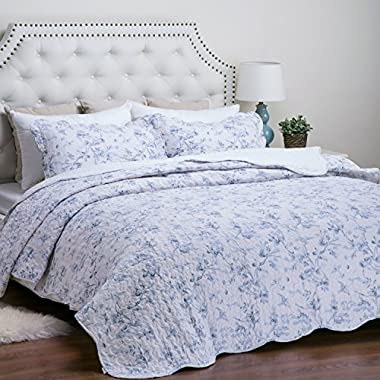 Printed Quilt Coverlet Set Full/Queen(86 x96 ) Blue Floral Pattern Lightweight Hypoallergenic Microfiber  English Garden  by Bedsure
