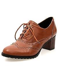 DoraTasia Women's Vintage Lace Up Pu Leather Block Heel Oxfords Ankle Booties Cuban Brogues Dress Shoes Large Size