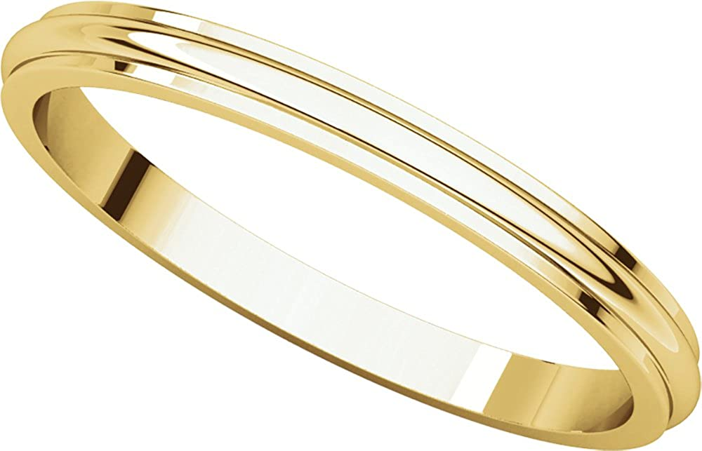 Mens 10K Yellow Gold 2.5mm Edged Half Round Wedding Band Ring
