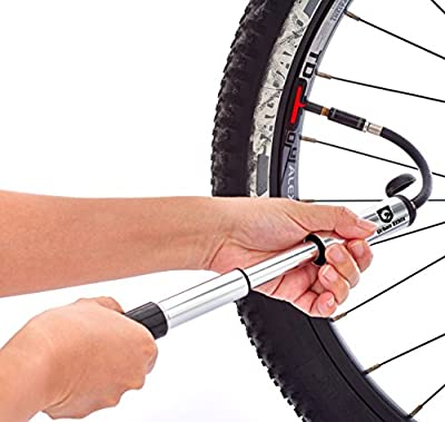 Portable Mini Bike Pump with LED Wheel Spoke Light - Quick Release Frame Mounted Micro Bicycle Tire Hand Pump Compatible With Presta Or Shrader Valves - Sturdy Aluminum