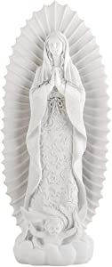 Our Lady of Guadalupe Cielo White Resin Statue, 8 1/2 Inch
