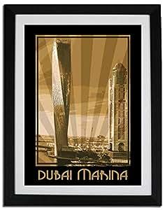 Dubai Marina- Sepia F06-nm (a3) - Framed