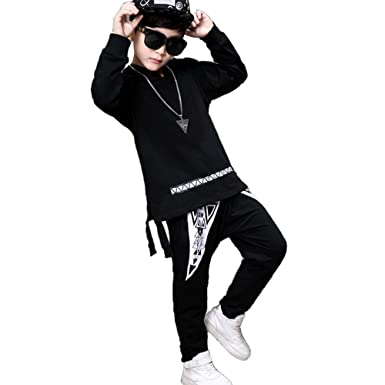 OnlyAngel Boys Fashion Sweatsuits Letters Printed Hoodies And Harem Pant Hip Hop Clothing Sets Age