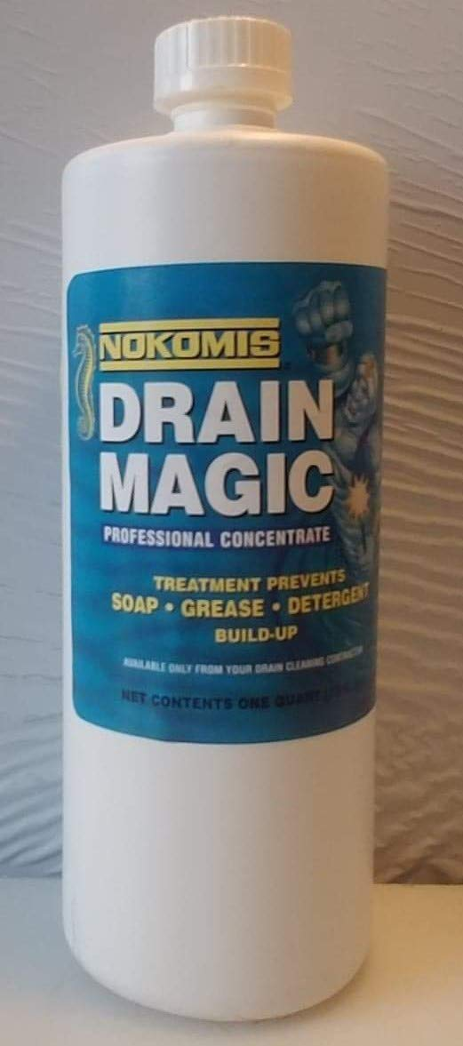 Professional Drain Cleaner | Nokomis 3 Drain Magic | Concentrate, For Professional Use | Removes Grease. Works in kitchens, baths, toilets | Case Pack: Twelve 1 Quart Unites