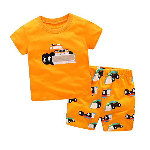 - Dreamaxhp Truck Sleepwear Little Boys Cotton Pajama Set T-Shirt Short Sets Deep Orange