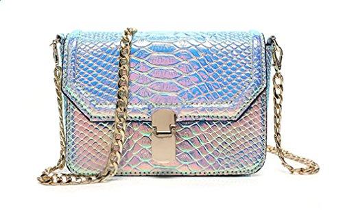 Bag Crossbody Shoulder Hologram Leather Marchome Purple Girls Women Pu Skin Snake BcHzwOq6