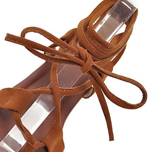 Unie Couleur Talon Brun GMBLB013554 Bas Lacet Ouverture Sandales à AgooLar Femme d'orteil ZS1Xx