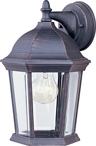 Maxim 1024RP Builder Cast 1-Light Outdoor Wall Lantern, Rust Patina Finish, Clear Glass, MB Incandescent Incandescent Bulb , 60W Max., Dry Safety Rating, Standard Dimmable, Glass Shade Material, 10080 Rated Lumens