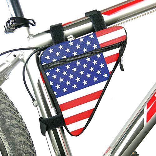 Price comparison product image FITIONS - Waterproof Cycling Bags Printed American flag Triangle Cycling Bicycle Bags Front Tube Frame Bag Mountain Bike Pouch Holder Bike